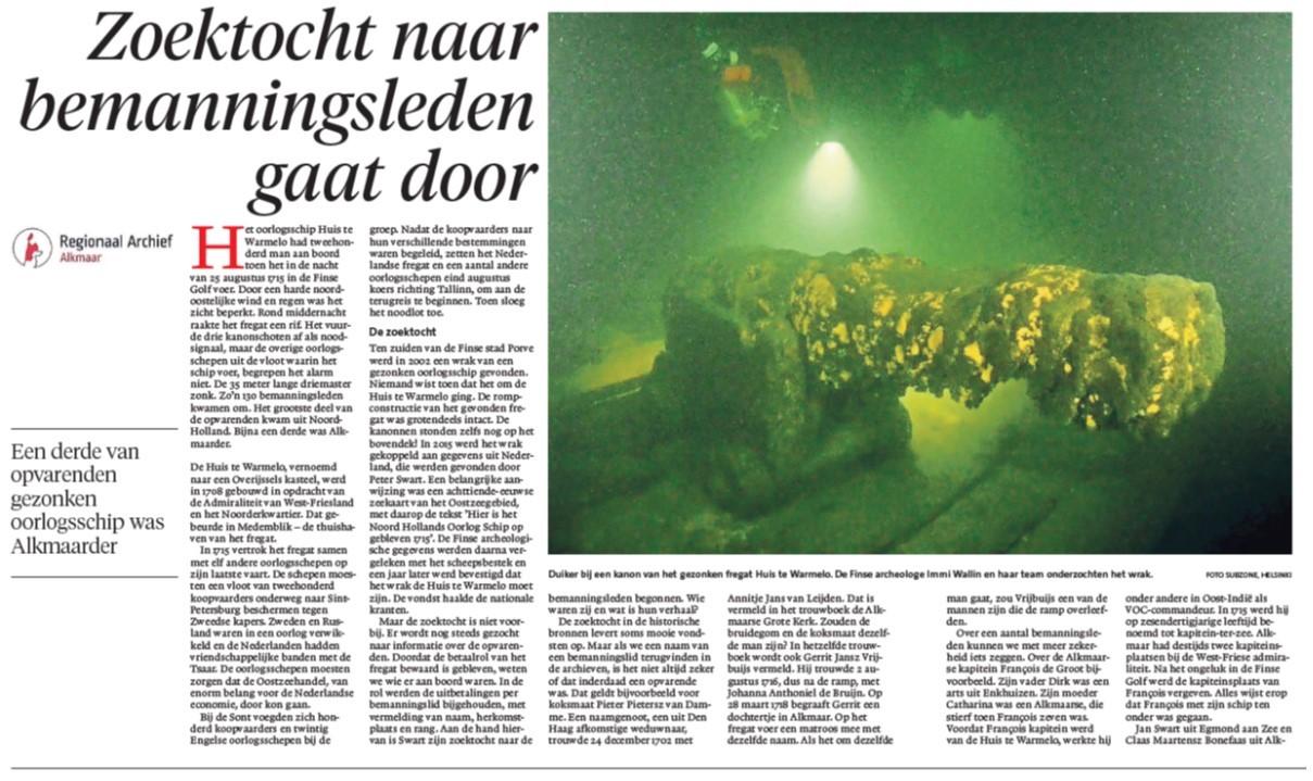 Article in Alkmaarsche Courant